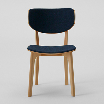 Roundish Dining Chair - Cushioned Seat-Back