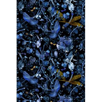 Biophillia Blue and Black Rug - Rectangular