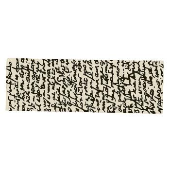 Black on White Manuscrit Runner Rug