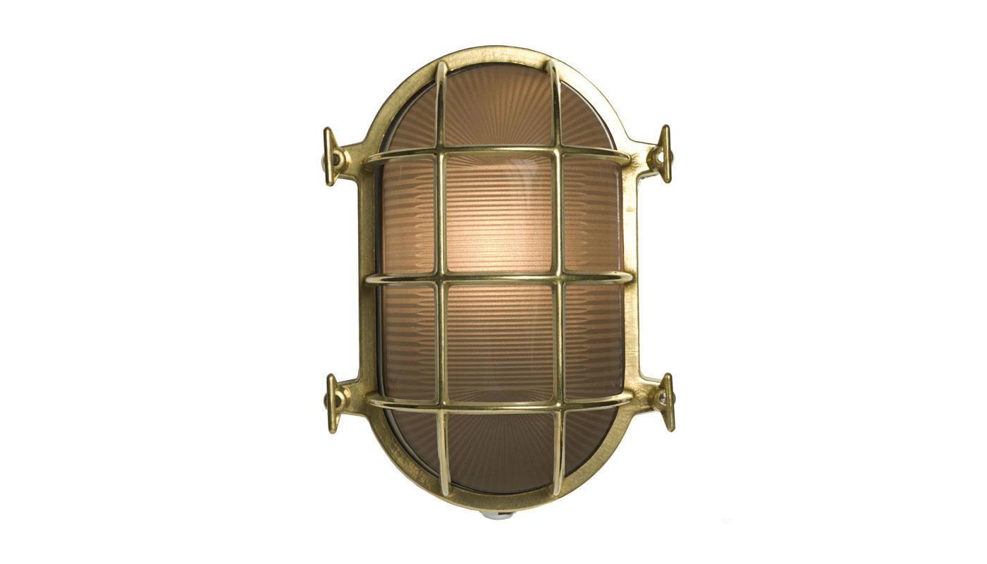 Bulkhead Wall Light - Oval - Polished Brass