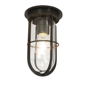 Ships Well Glass Ceiling Light - Weathered Brass - Weatherproof