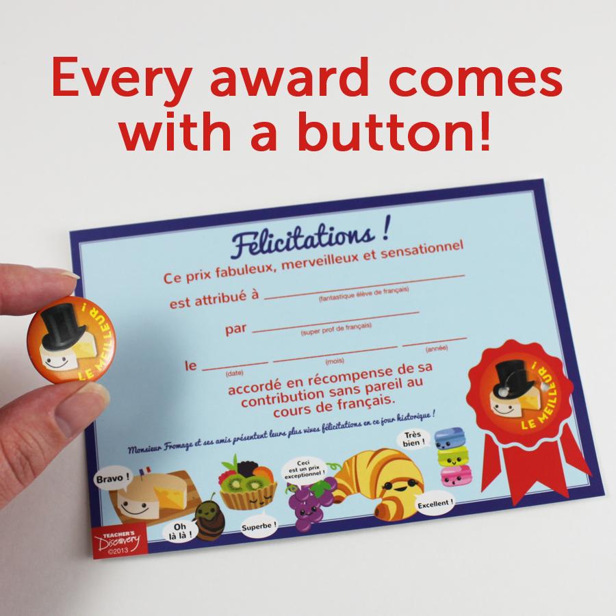 Monsieur Fromage Mini Button Awards Set of 12