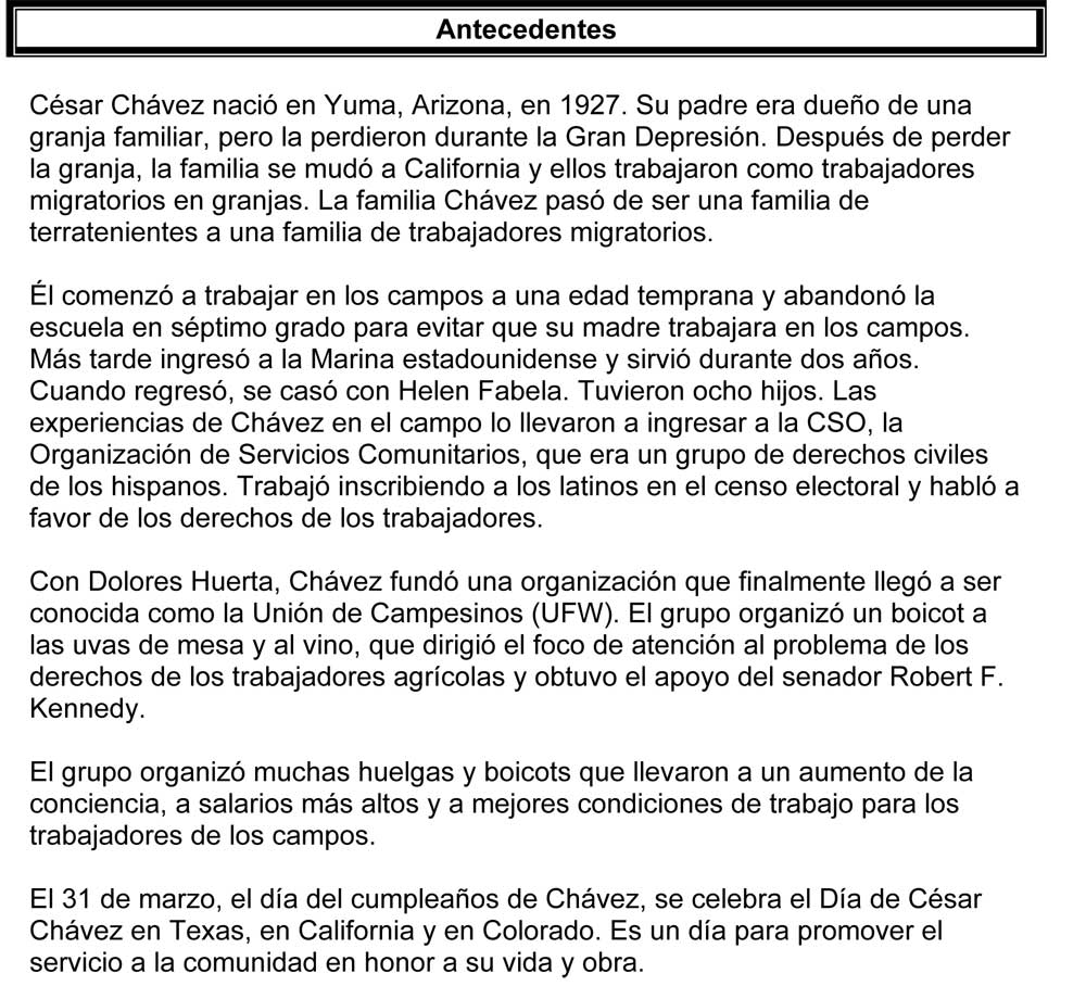 Uncategorized Cesar Chavez Worksheet cesar chavez history is made one step at a time spanish enlarge image