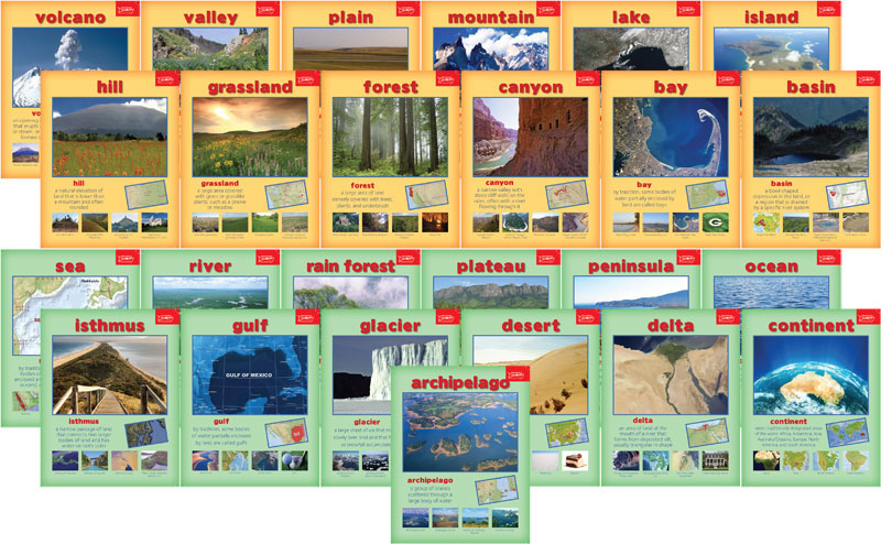 Geography Terms Mini-Poster Set of 25 - Geography Terms Mini-Poster Set of 25