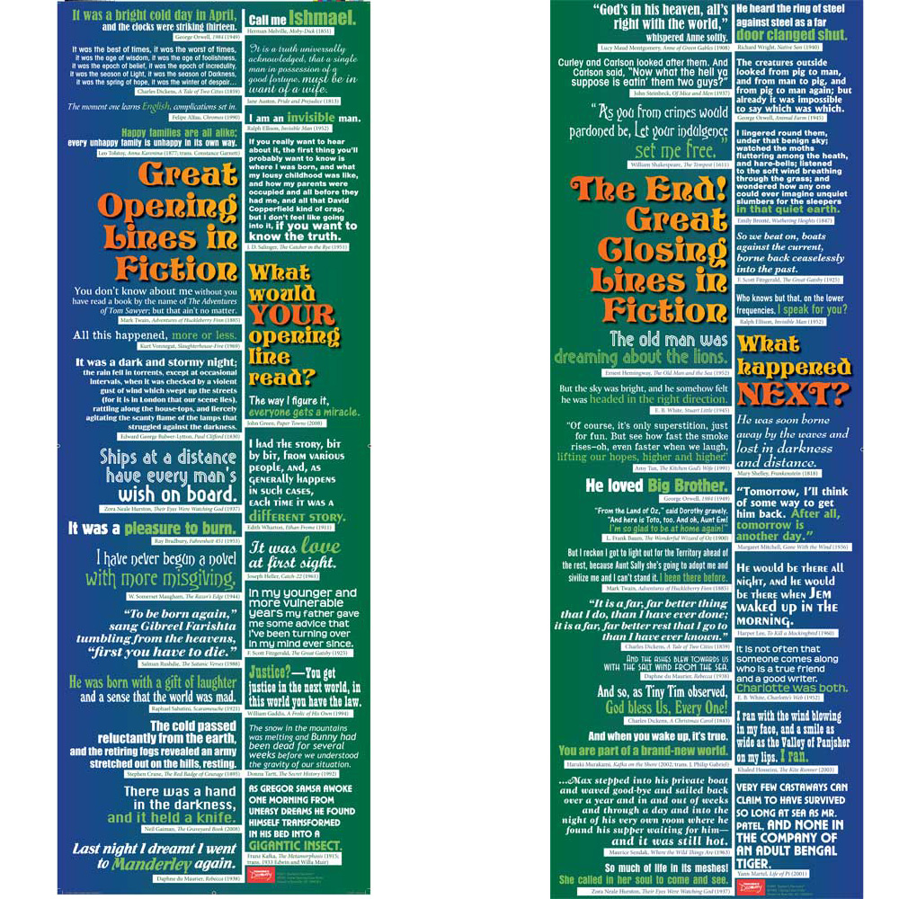 Great Opening and Closing Lines in Fiction Poster Set - Great Opening and Closing Lines in Fiction Poster Set