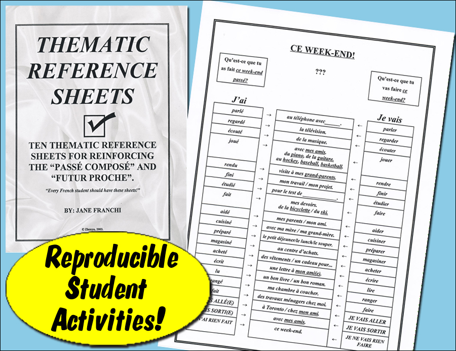 Thematic Reference Sheets French Activity Packet