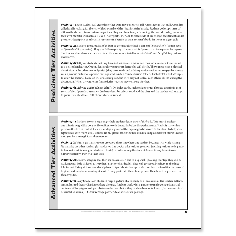 675 Tiered Activities For Spanish Book Spanish Teachers Discovery