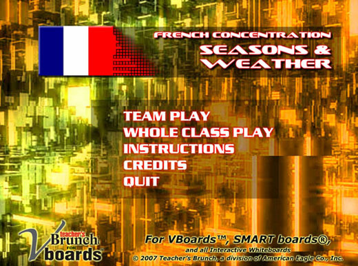 French Concentration Game - Seasons/Weather