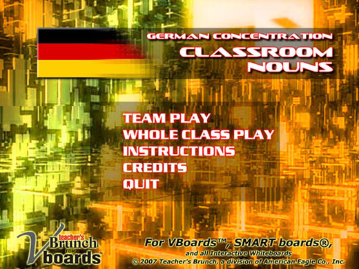 German Concentration Game Classroom Nouns