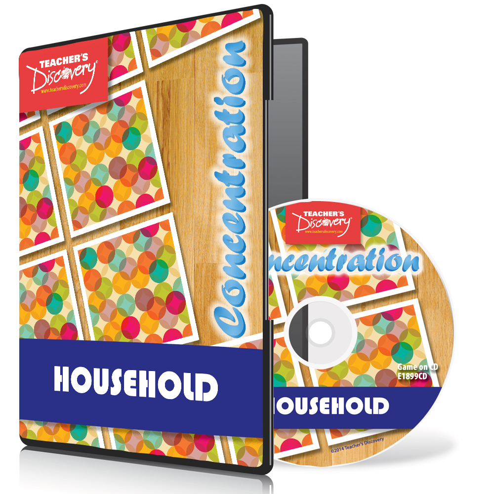 Household Nouns Spanish Concentration Game on CD-ROM