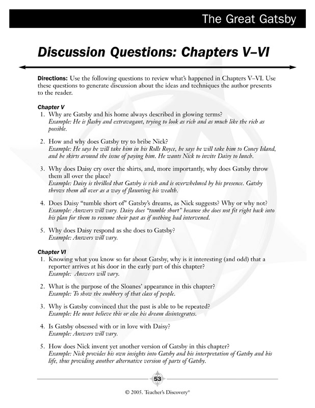 the great gatsby study guide and activities answer key