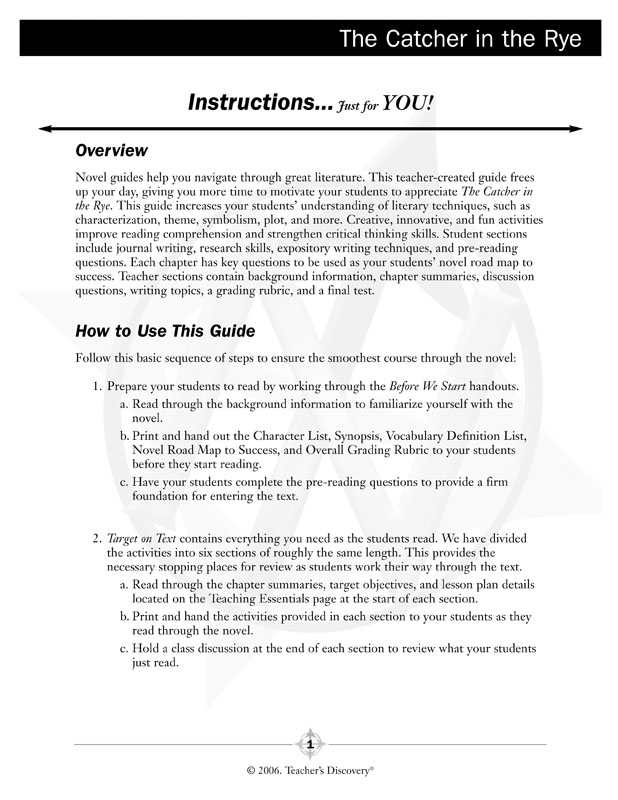The Catcher In The Rye Novel Guide Book English Teachers Discovery