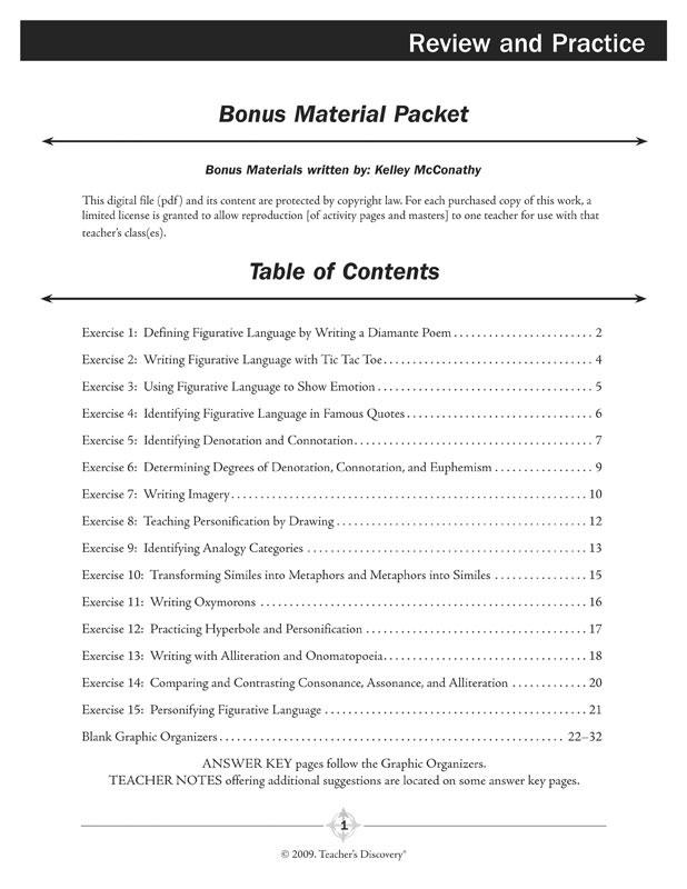 figurative language worksheet 1 pdf answers