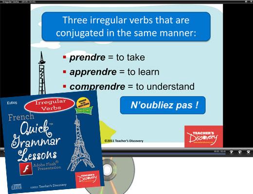 Irregular Verbs French Adobe Flash Presentation on CD