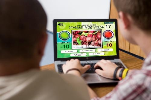 Digital Flashcard Challenge Game Spanish Vegetables