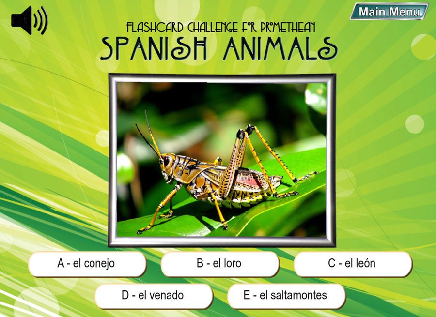 Spanish Digital Flashcard Challenge Promethean Set of 10