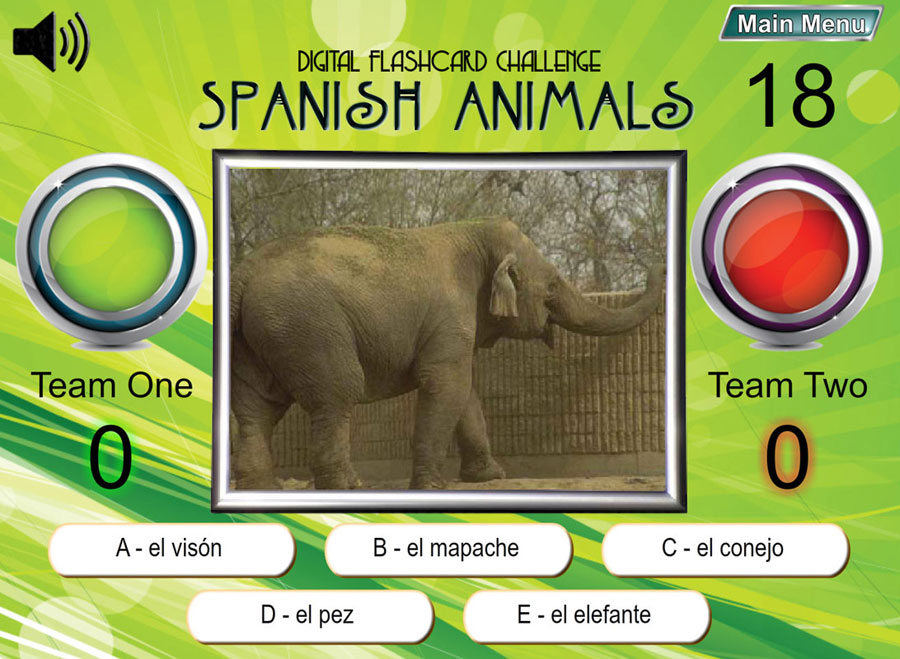 Digital Flashcard Challenge Games Spanish Set of 10