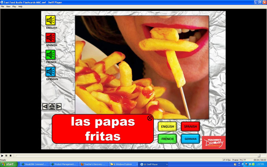 Audio Flash Cards Spanish/French/German/English Fast Food