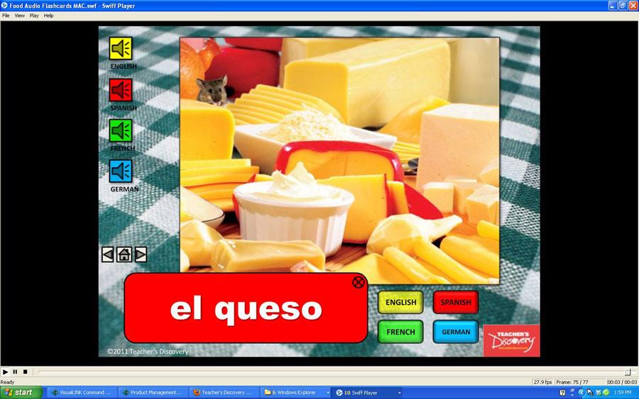 Audio Flash Cards Spanish/French/German/English Food