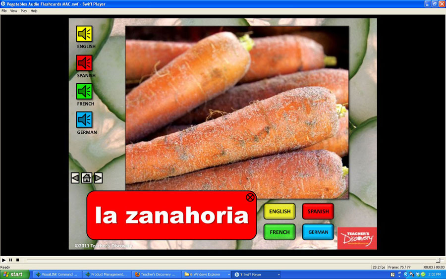 Audio Flash Cards Spanish/French/German/English Vegetables