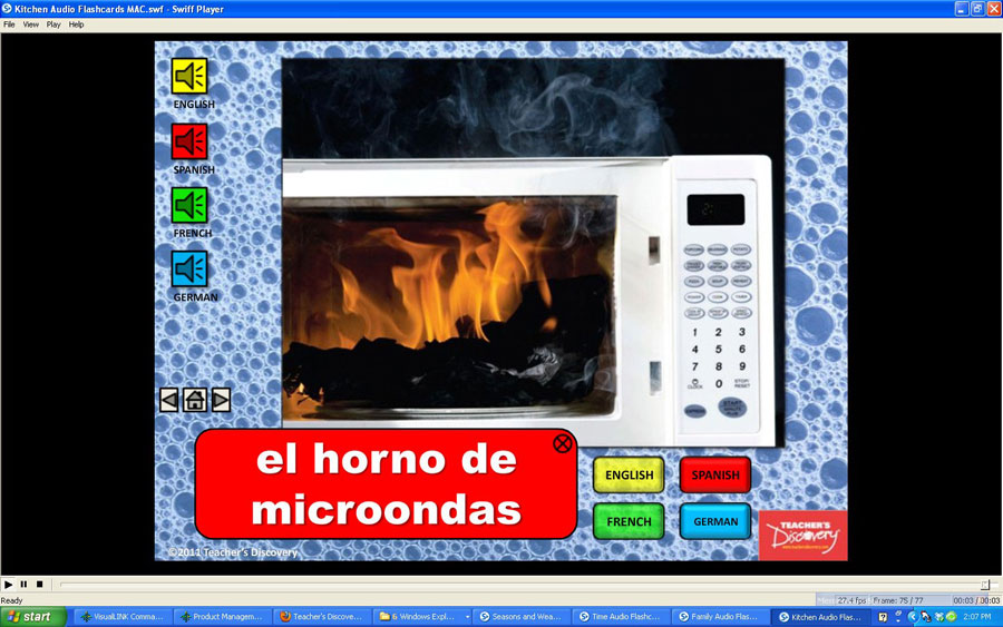 Audio flash cards spanish french german english kitchen for Farcical noun