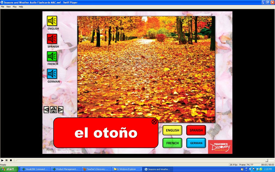 Audio Flash Cards Spanish/French/German/English Season and Weather
