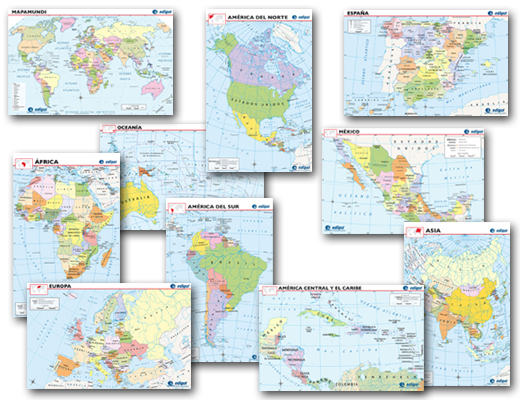 Spanish World Maps Mini-Poster Set