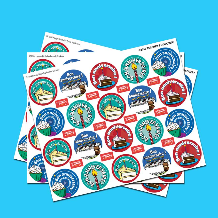 Happy Birthday French Stickers (60)