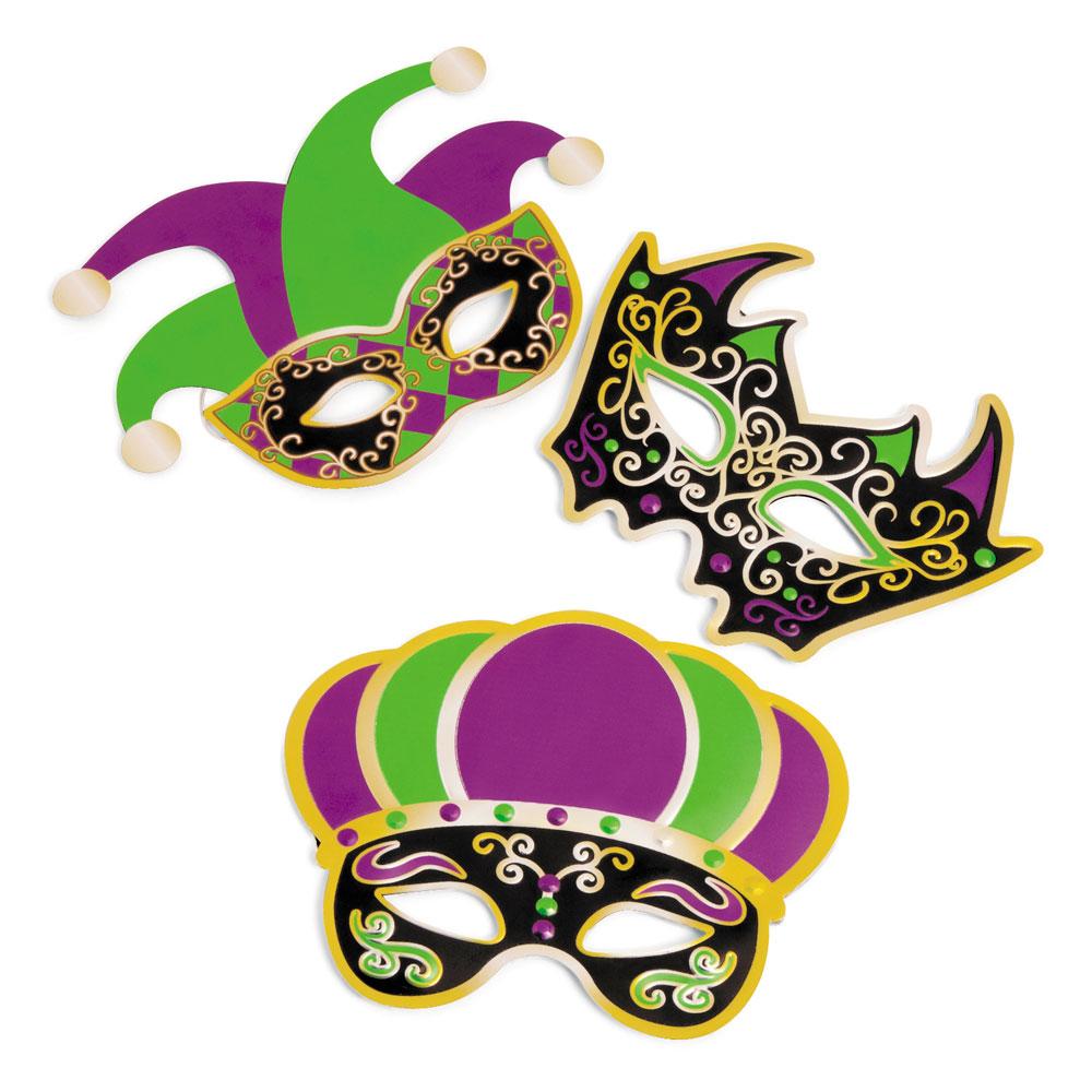 Felt Fancy Mardi Gras Masks Set of 12