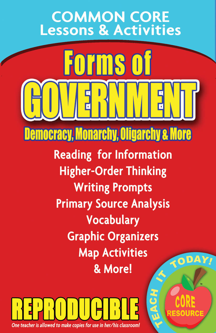 Forms of Government Common Core Lessons and Activities Book