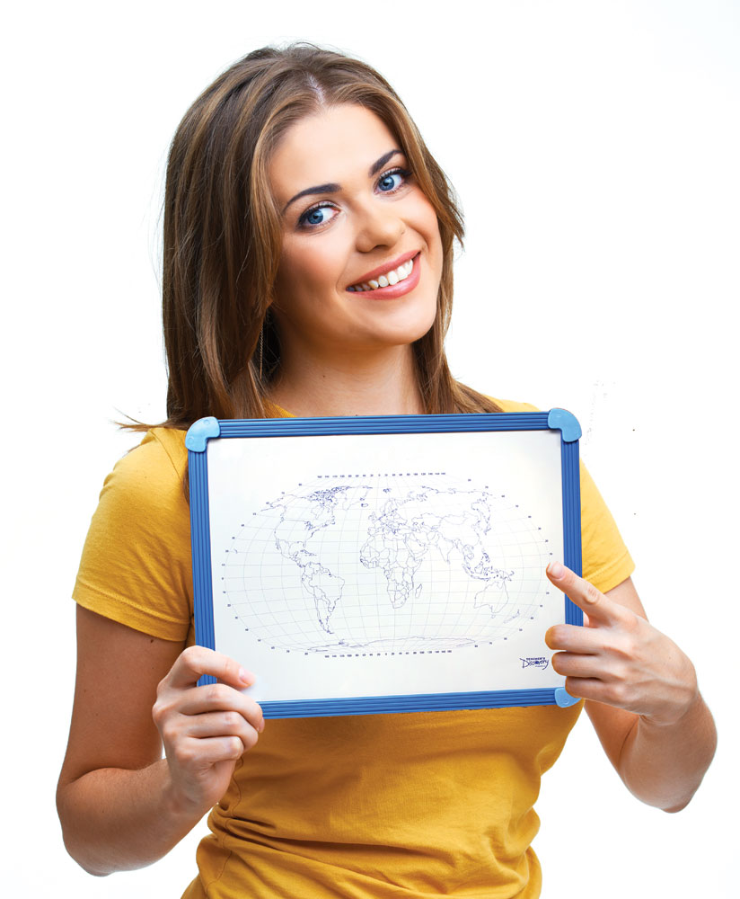 World Map Dry-Erase Board