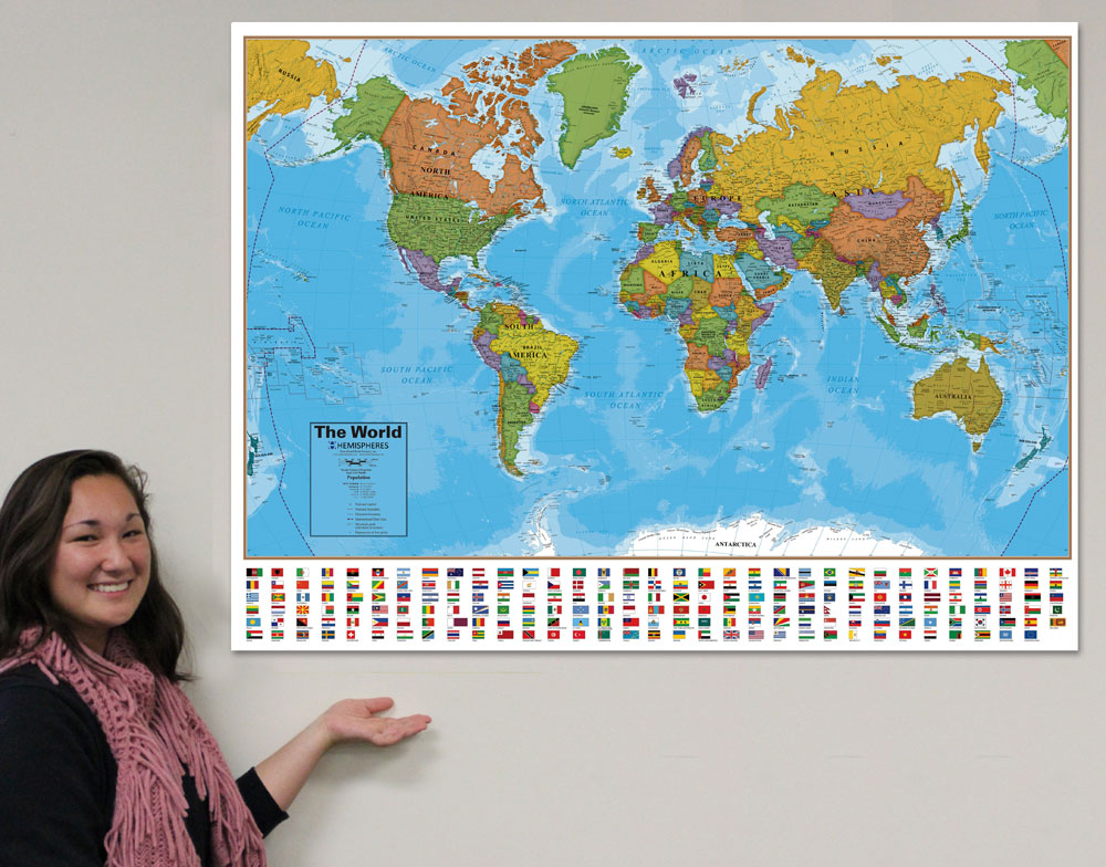 Wall maps teachers discovery world map with country flags gumiabroncs Images