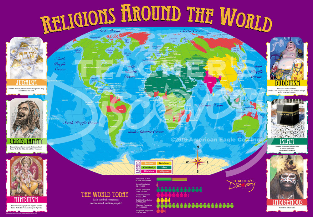 World Religions Distribution Map Social Studies Teachers Discovery - World map showing religion