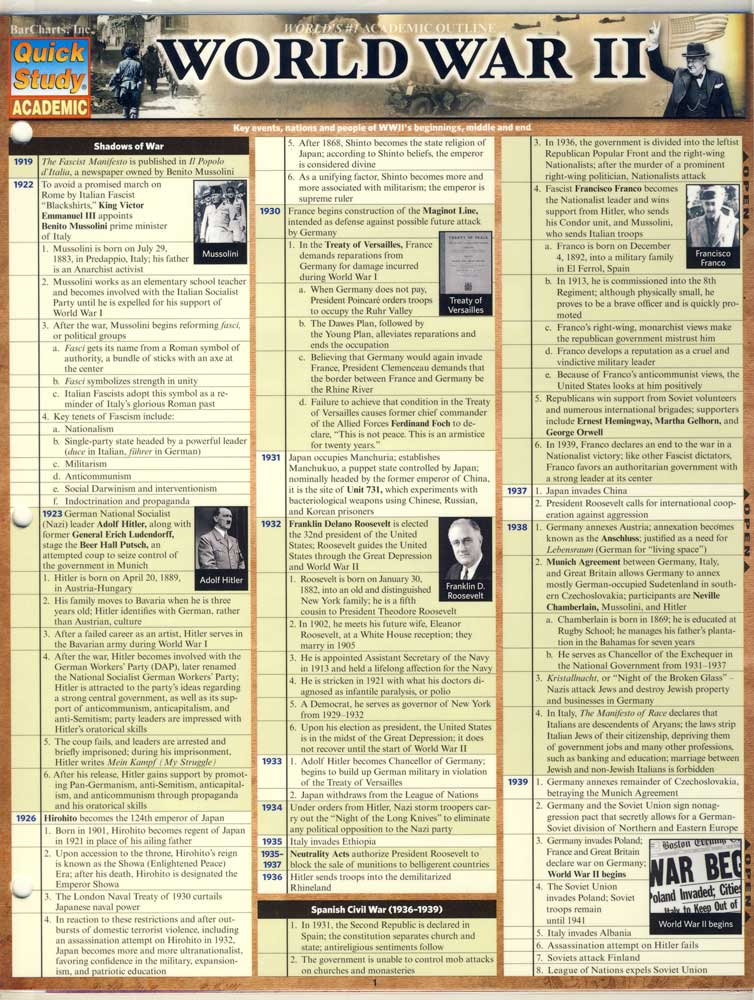 World War II Quick Study Chart