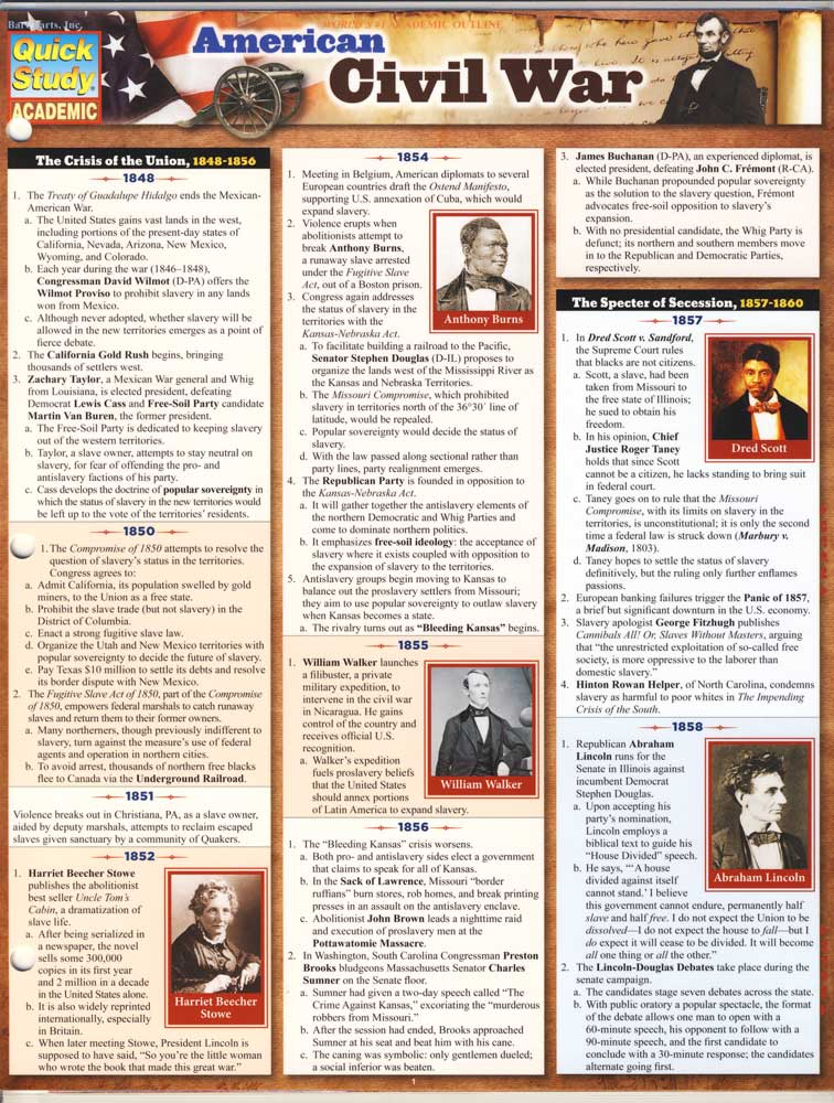 American Civil War Quick Study Chart