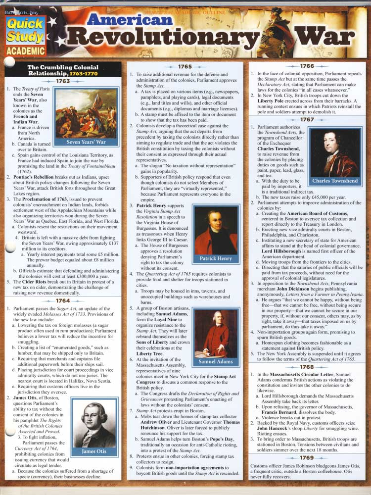 American Revolutionary War Quick Study Chart