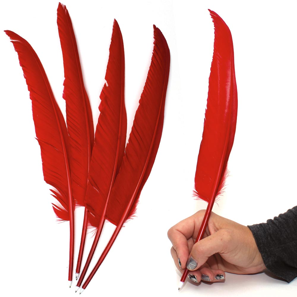 1 Dozen Red Feather Pens