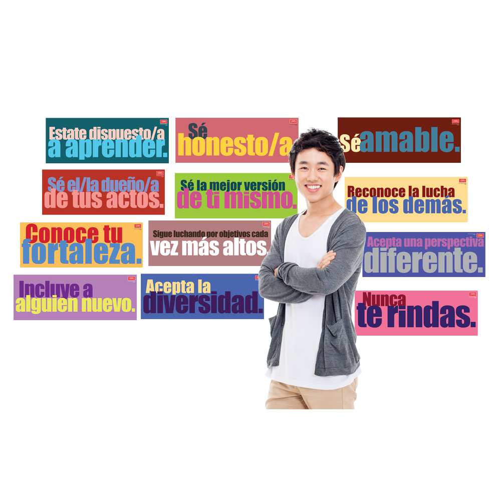 Character Building Spanish Signs - Set of 12