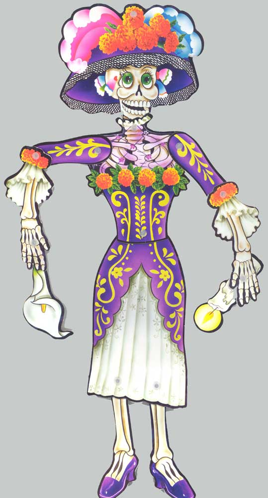 Day of the Dead Jointed Paper Doll Set of 2