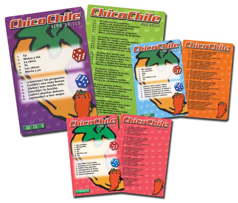 Chico Chile Classroom Spanish Verb Drill Games Set of 9