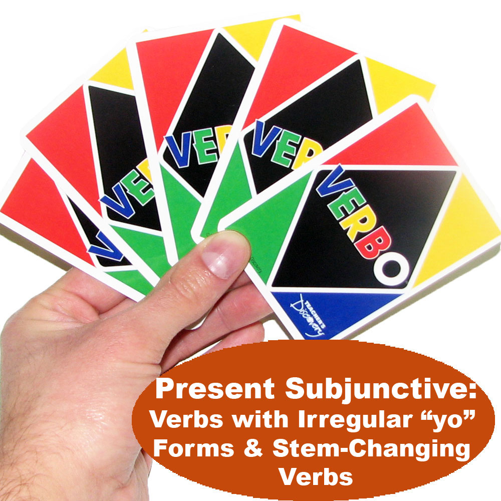 Verbo™ Spanish Card Game Present Subjunctive Verbs with Irregular yo Forms & Stem-Changing Verbs