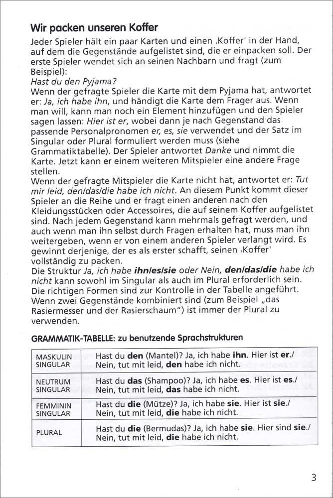 Wir packen unseren Koffer German Game, German: Teacher\'s Discovery