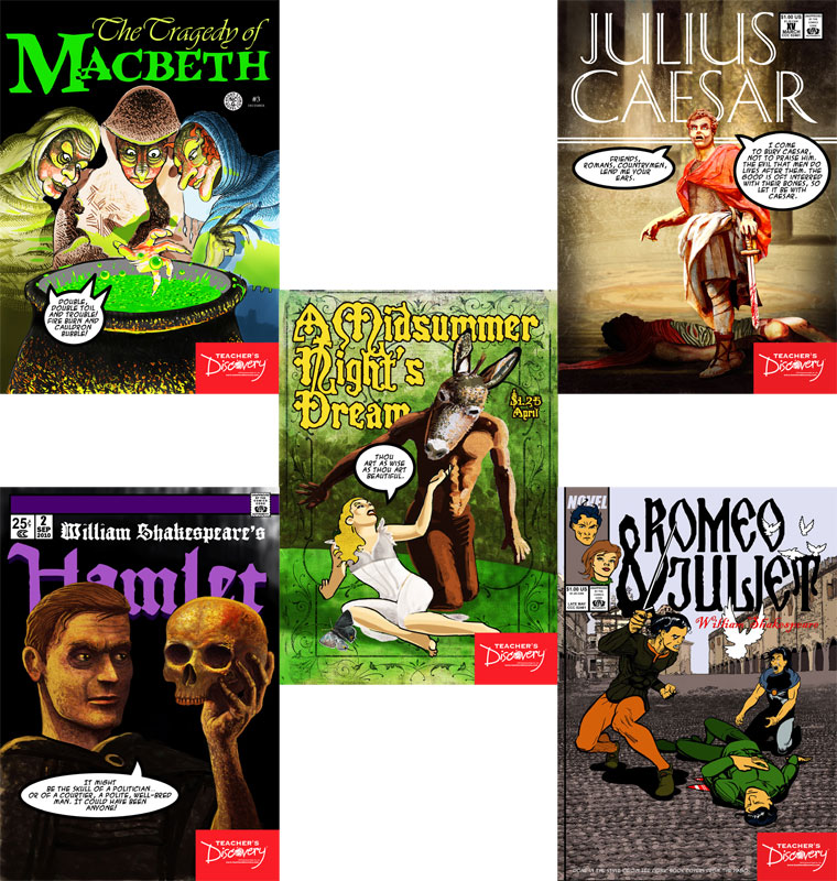 Shakespeare Graphic Novel Posters ~ Set of 5