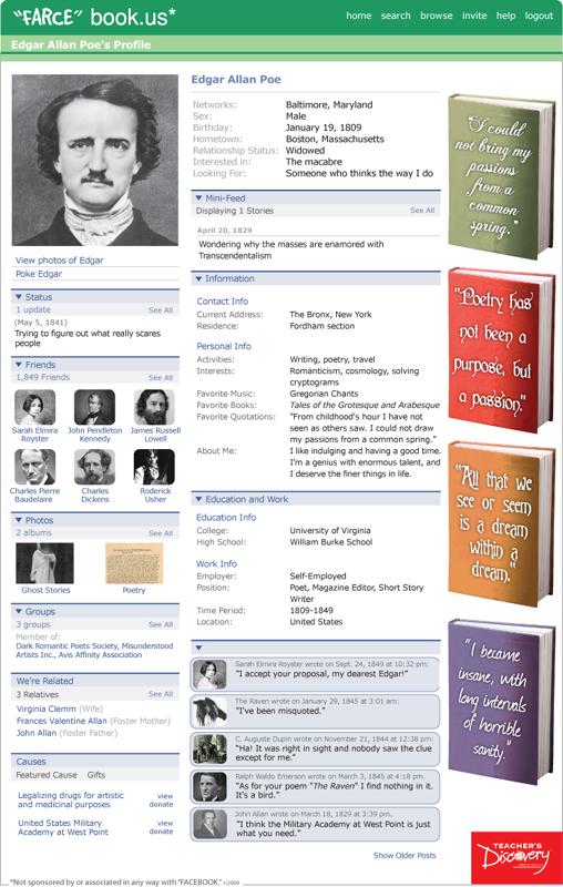 Edgar allan poe farce book poster english teacher 39 s for Farcical webster