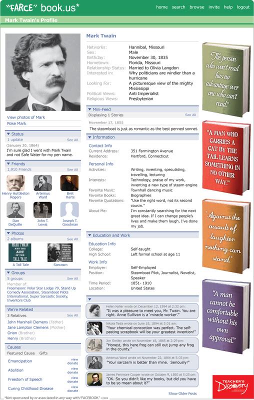 Mark twain farce book poster mark twain teacher 39 s discovery for Farcical books