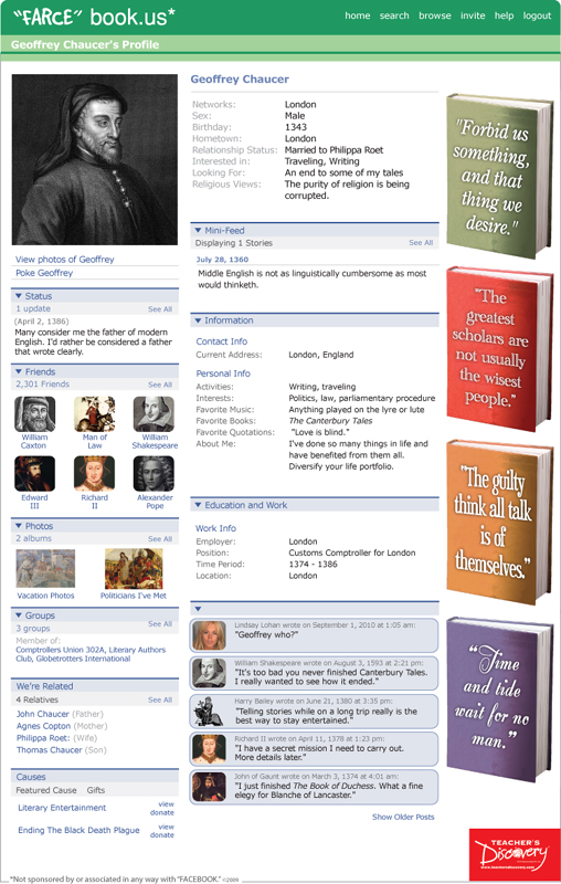 "Geoffrey Chaucer ""Farce"" book Poster"