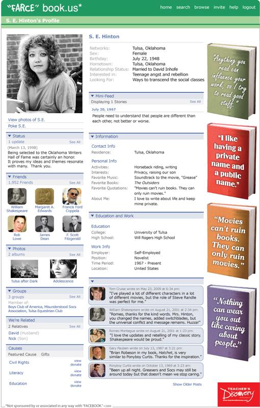 S e hinton farce book poster s e hinton teacher 39 s for Farcical webster