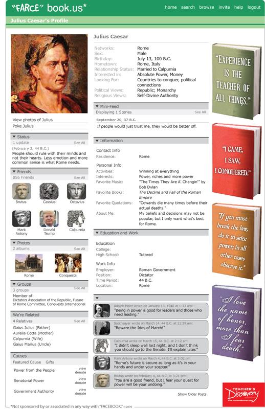"""Julius Caesar """"Farce"""" book Poster"""