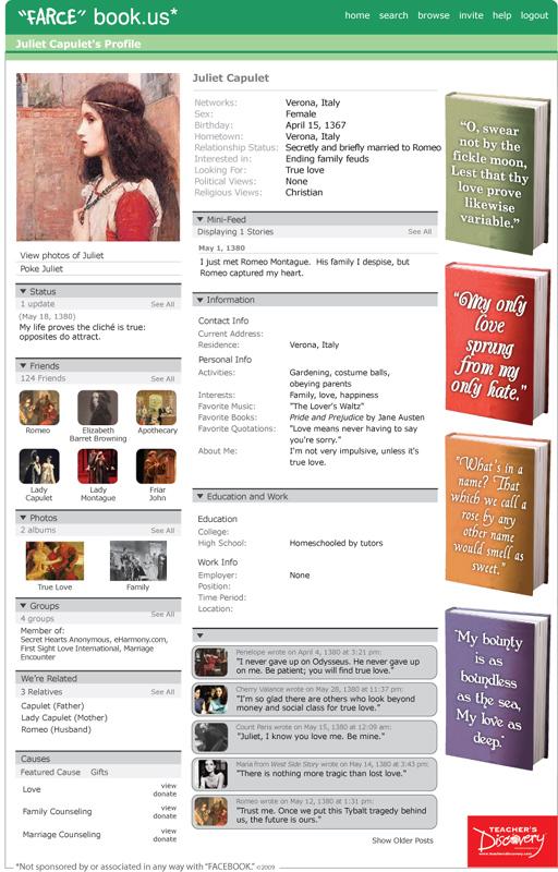 "Juliet Capulet ""Farce"" book Poster"