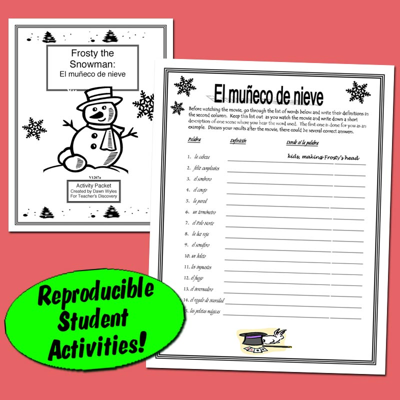 Frosty The Snowman-Returns Spanish Activity Packet Downloadable